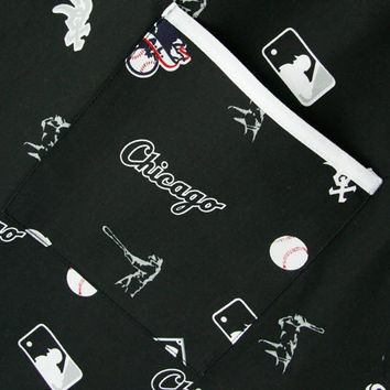 MLB Chicago White Sox Black Allover Print Scrub Top (Large)