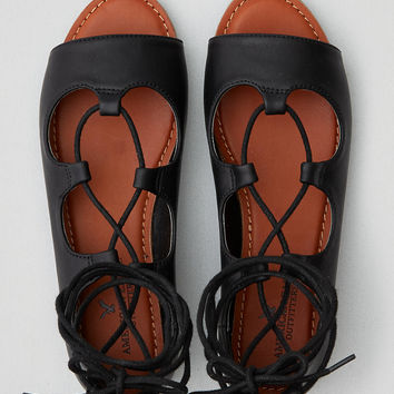 AEO Lace-Up Open Toe Flat, Black