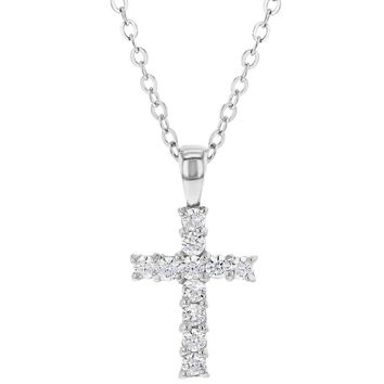 """925 Sterling Silver Small Clear CZ Cross Necklace for Kids Little Girls 18"""""""