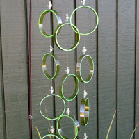 Recycled wine bottle wind chime, Juniper wood, green, circle glass wind chime, Yard decor, yard art