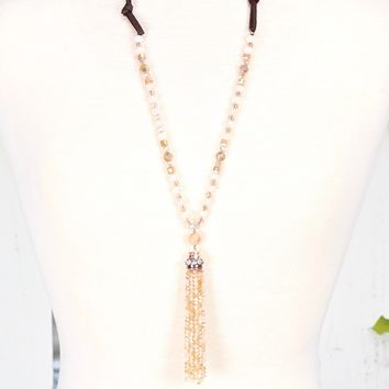 Blissfully Beaded Tassel Necklace {Beige}