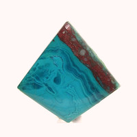 Ocean Blue Chrysocolla Red Cuprite Copper Mineral Jewel Southwestern Stone Cabochon