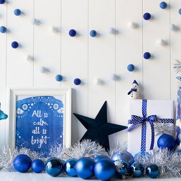 Blue Christmas Felt Ball Garland. Blue Pom Pom Garland. Christmas Decor. Wool Ball Bunting. Christmas Garland. Blue Ombre. Blue White