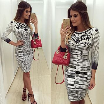 Printed Half-Sleeve Bodycon Dress