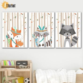 Fox Raccoon Forest Cartoon Wall Art Canvas Painting Nordic Posters And Prints Wall Pictures For Kids Room Baby Girl Room Decor