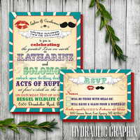 Vintage Printable Carnival Wedding Invitation and RSVP card for a Circus, Carnival theme, Kiss and Mustache, Mr. and Mrs.