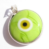 Round Green Evil Eye Pendant