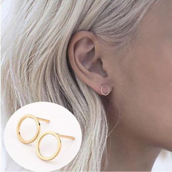 ac spbest 2 Pair Summer Style New Fashion Famous Gold Silver Black Round Circle Ear Stud Earrings For Women  jewelry
