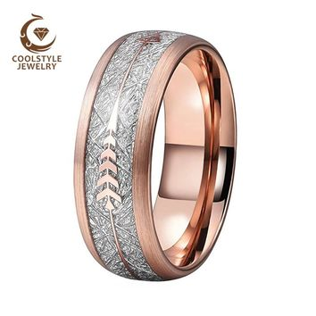Rose Gold Wedding Ring Men Women Tungsten Ring Brushed Finish With Imitated Silver Meteorite And Rose Gold Arrow Inlay