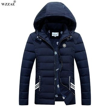 WZZAE 2017 Winter Jacket Men New Brand Stand Collar Coat Hooded Warm Thickening Down Parkas Casual Jaqueta Masculina M-3XL