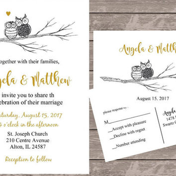 Personalized wedding invitations, gold and black wedding invite, owl wedding invitatlions, custom wedding invitations
