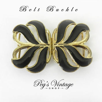 Vintage Black Enamel Gold Tone Belt Buckle, Leaf Shaped Belt Buckle