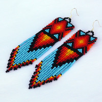 Native American Earrings Inspired. Geometric Long Earrings. Beaded Colorful Dangle Earrings. Beadwork
