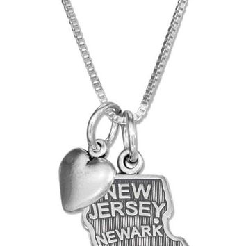"""Sterling Silver 18"""" New Jersey State Pendant Necklace With Heart Charm"""
