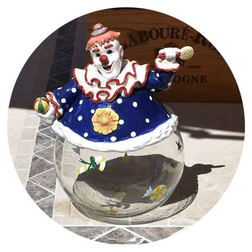 Vintage Clown Cookie / Candy Jar Ceramic / Glass