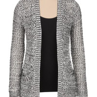 black and white open stitch cardigan