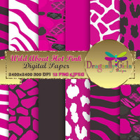 80% OFF Sale WILD About Hot Pink black,paperpacks, commercial use, digital scrapbook papers, vector graphics, printable, Instant Download