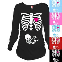 New Fashion Maternity Pregnancy Funny Xray Skeleton Bany Print Clothes for Pregnant Women Maternity T-Shirt [9324248516]