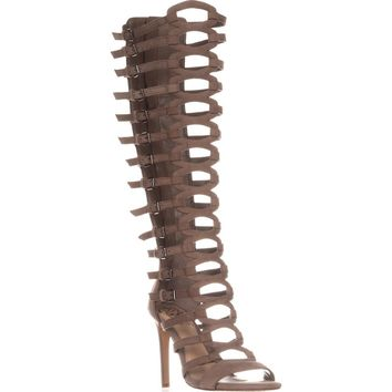 Vince Camuto Chesta Knee-High Gladiotor Heeled Sandals, French Taupe, 6.5 US / 36.5 EU