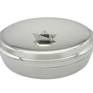 Silver Toned Origami Boat Design Pendant Oval Trinket Jewelry Box