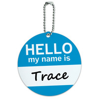 Trace Hello My Name Is Round ID Card Luggage Tag