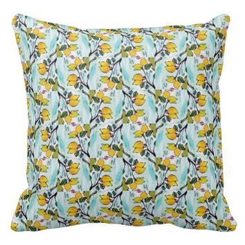 Zesty Lemon Pattern Summer Throw Pillow