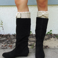Oatmeal / Off White Bow Boot Cuffs, Crocheted, Handmade Womens Accessory, Women's Size SMALL or MEDIUM--Made to Order