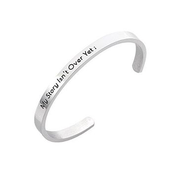 Stpower Semicolon Jewelry My Story Isnt Over Yet Stainless Steel Cuff Bracelet Inspirational Gift for Her