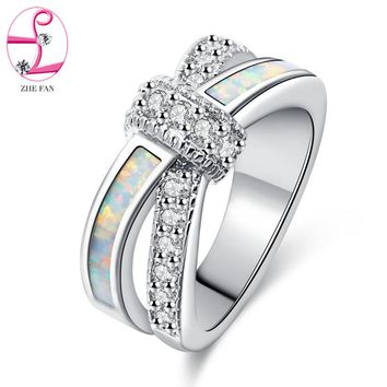 ZHE FAN White Fire Opal Rings AAA Cubic Zirconia Jewelry Wedding Party Engagement Love Statement Ring Rhodium Plating Size 5-10