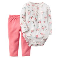 Carter's Floral Bodysuit & Pants Set - Baby Girl, Size:
