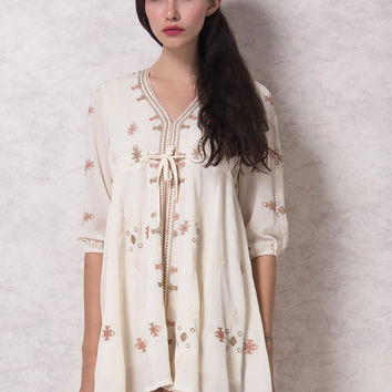 White Plunge Neck Embroidery Tie Front 3/4 Sleeve Boho Dress