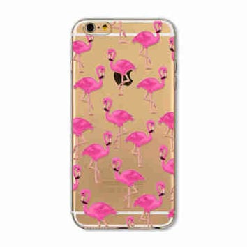 Pink Clear Flamingo Phone Case for iPhone 7 6 6s