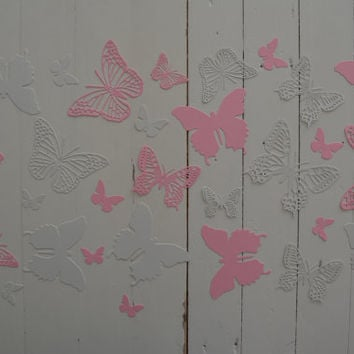 3D Butterflies made of textured card stock in Pink and Dusty Grey --- Let them fly around in your nursery or dress up your party