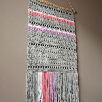 Woven Wall Hanging / Woven Fringe Tapestry /Modern Weaving / Bohemian Cotton Weaving / Nursery Art / Rustic Textile / Boho Home Décor / Grey