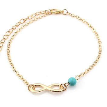 Turquoise Infinity Anklet