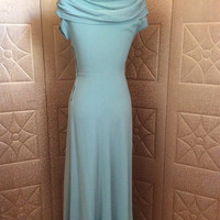 40S BEAUTY Vintage 1940s Seafoam Blue Rayon Crepe Draped Evening Dress with Rhinestones S