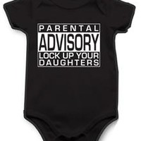 'Parental Advisory Lock Up Your Daughters' Infant Snapsuit