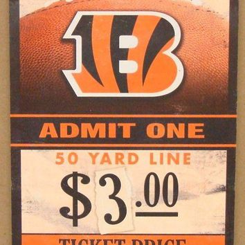 "CINCINNATI BENGALS GAME TICKET ADMIT ONE WHO DEY WOOD SIGN 6""X12'' NEW WINCRAFT"