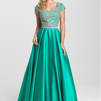 [129.99] Graceful Satin V-neck Neckline A-line Prom Dresses With Beaded Lace Appliques - dressilyme.com