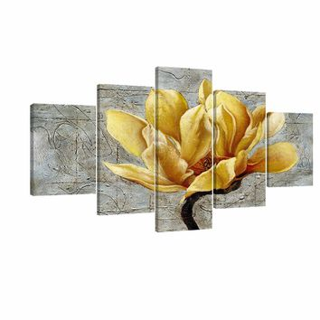 Yellow and Grey Flower Wall Art Abstract Oil Print on Canvas Home Decor Pictures 5 Panels Large Poster Printed Painting Framed