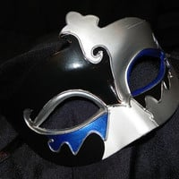 Black, White, Blue and Silver Venetian Mask