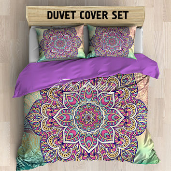 Mandala bedding, Bohemian queen / king / full / twin duvet cover set, Higher heart sacred lotus mandala duvet cover set, Boho chic duvet cover set, mandala bedding set