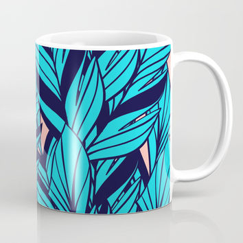 Blue Banana Leaf Pattern Mug by cadinera