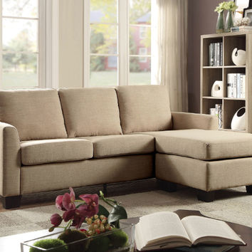 Furniture of america CM6593BG 2 pc Erin beige fabric sectional sofa with ottoman chaise