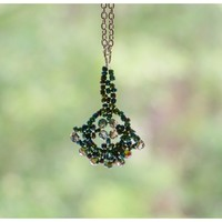 Necklace with Beaded Fan Pendant