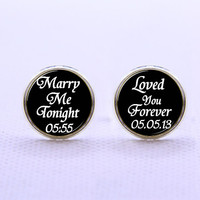 Cuff links- Merry me tonight  Cufflinks,Men, father's day, ,wedding cufflinks,bride cufflinks,Love you forever   cufflinks