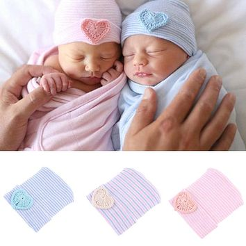 Cute Newborn Toddler Baby Infant Girl Toddler Soft Comfy Bowknot Striped Hospital Cap Warm Beanie Hat