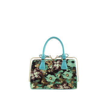 Mint Green Floral Painted Gold Rod Handbag