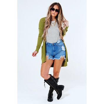 Together Again Cardigan: Olive Green