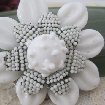 Miriam Haskell Brooch Signed White Milk Glass Petal Pin